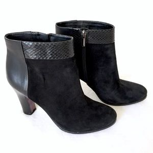 SAM EDELMAN Shay Black Suede Leather Bootie Snake